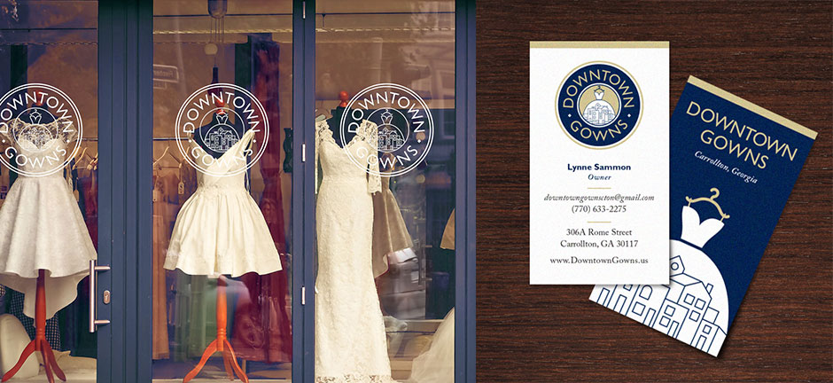 Bridal Store Logo on store front and business card